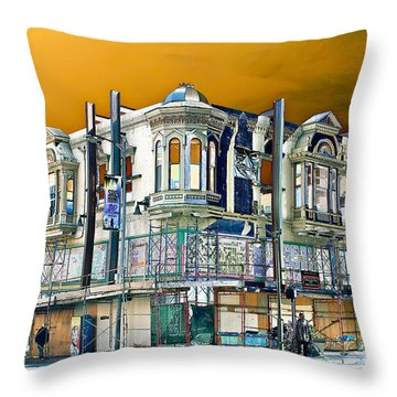 Downtown Los Angeles Corner Facade Throw Pillow