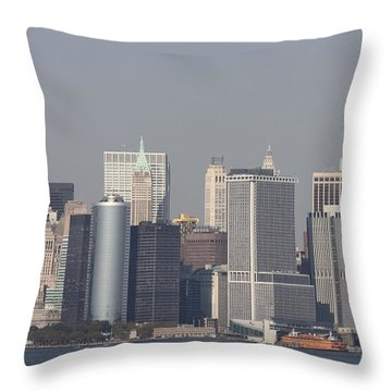 Downtown Manhattan Shot From The Staten Island Ferry Throw Pillow