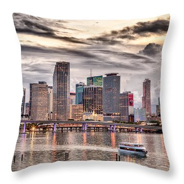 Downtown Miami Skyline In Hdr Throw Pillow
