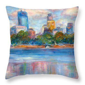 Downtown Minneapolis Skyline From Lake Calhoun II - Or Commission Your City Painting Throw Pillow