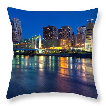 Downtown Minneapolis Skyline Hennepin Avenue Bridge Throw Pillow