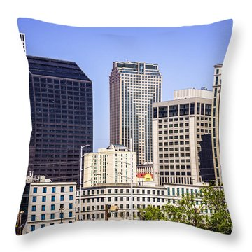 Downtown New Orleans Buildings Throw Pillow by Paul Velgos