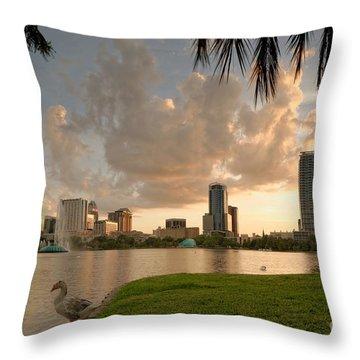 Downtown Orlando Skyline Lake Eola Sunset Throw Pillow