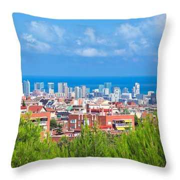 Downtown Panorama Of Barcelona Throw Pillow by Michal Bednarek