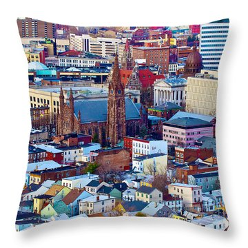 Downtown Paterson Throw Pillow by Mark Miller