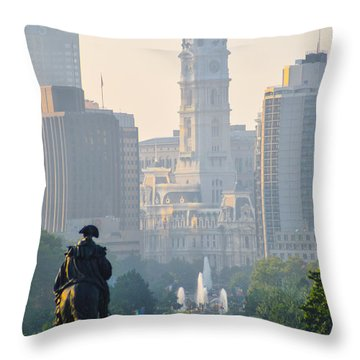 Downtown Philadelphia - Benjamin Franklin Parkway Throw Pillow by Bill Cannon