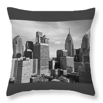 Downtown Philadelphia Throw Pillow by Rona Black