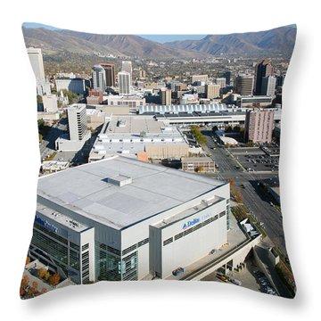 Downtown Salt Lake City Throw Pillow by Bill Cobb