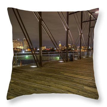 Downtown San Antonio From The Hays Street Bridge Throw Pillow