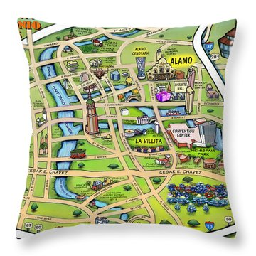 Downtown San Antonio Texas Cartoon Map Throw Pillow