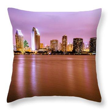 Downtown San Diego Skyline At Night Throw Pillow by Paul Velgos