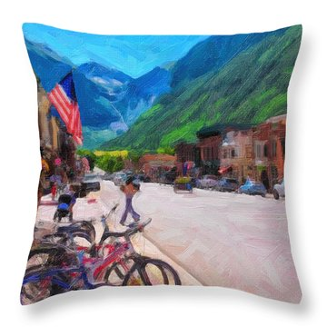 Downtown Telluride Throw Pillow