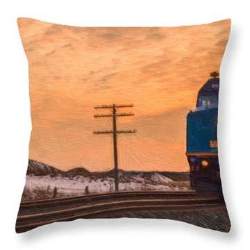 Downtown Train Throw Pillow