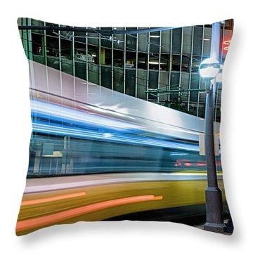 Downtown Train Throw Pillow