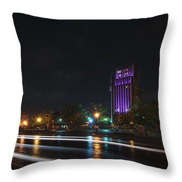 Downtown Tyler Texas At Night Throw Pillow