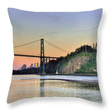 Downtown Vancouver And Lions Gate Bridge At Twilight Throw Pillow by Eti Reid