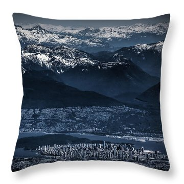 Downtown Vancouver And The Mountains Aerial View Low Key Throw Pillow by Eti Reid