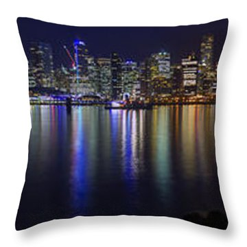 Downtown Vancouver Skyline By Night Throw Pillow
