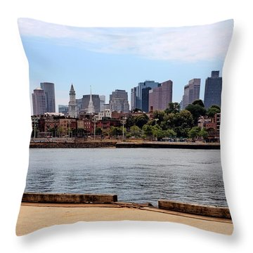 Downtown View In Boston Throw Pillow
