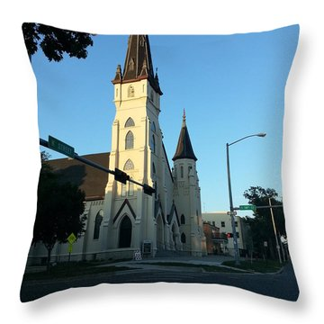 Downtown Worship Throw Pillow