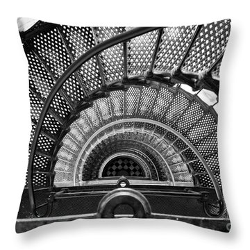 Downward Spiral Bw Throw Pillow by Douglas Stucky