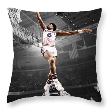 Dr J Throw Pillow by Brian Reaves