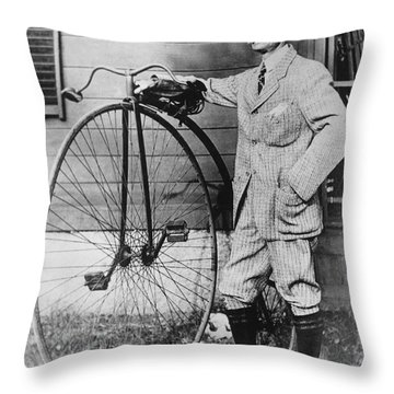 Dr. Kendall With His Bicycle Throw Pillow