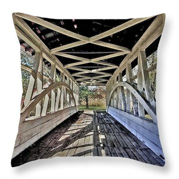 Throw Pillow featuring the photograph Dr. Knisely Covered Bridge by Suzanne Stout