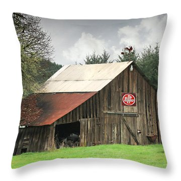 Dr Pepper Throw Pillow by Katie Wing Vigil