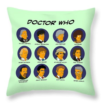 Throw Pillow featuring the digital art Dr Who Tardis Green Collection by Donna Huntriss