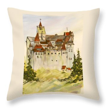 Dracula's Castle In Bran Romania Throw Pillow