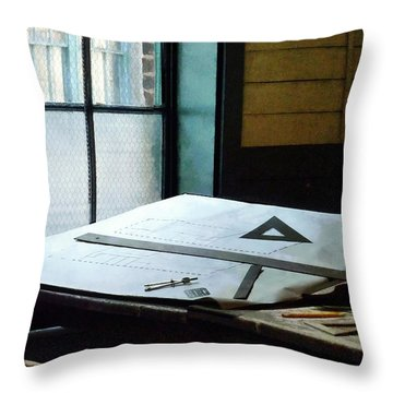 Drafting - Triangle Ruler And Compass Throw Pillow by Susan Savad