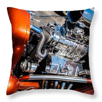 Throw Pillow featuring the photograph Drag Queen - Hot Rod Blown Chrome  by Steven Milner
