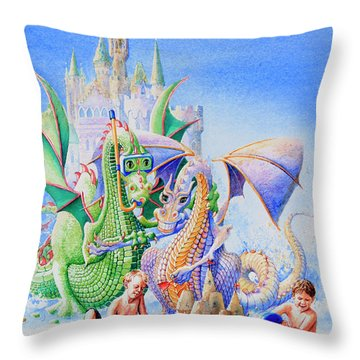 Dragon Castle Throw Pillow by Hanne Lore Koehler