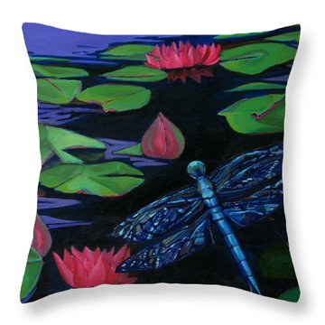 Dragon Fly - Botanical Throw Pillow by Grace Liberator