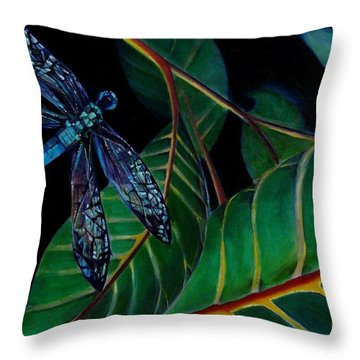 Dragon Fly Soaring - Botanical Throw Pillow by Grace Liberator
