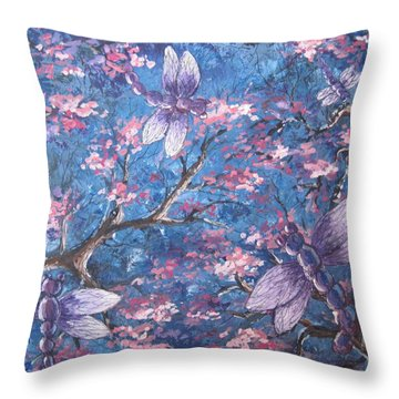 Throw Pillow featuring the painting Dragon Flying by Megan Walsh