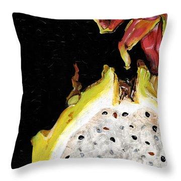Throw Pillow featuring the painting dragon fruit yellow and red Elena Yakubovich by Elena Yakubovich