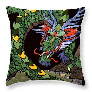 Dragon - Incognito Throw Pillow by Kathy Bassett