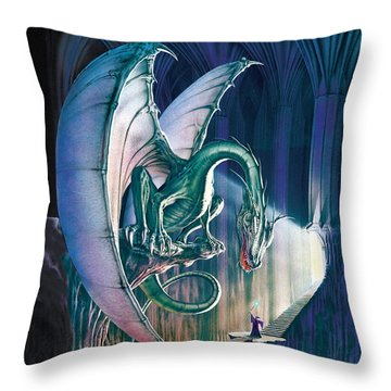 Dragon Lair With Stairs Throw Pillow by The Dragon Chronicles - Robin Ko