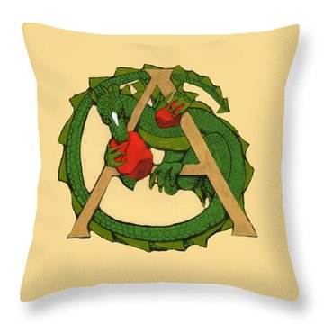 Throw Pillow featuring the drawing Dragon Letter A by Donna Huntriss
