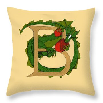 Throw Pillow featuring the drawing Dragon Letter B by Donna Huntriss