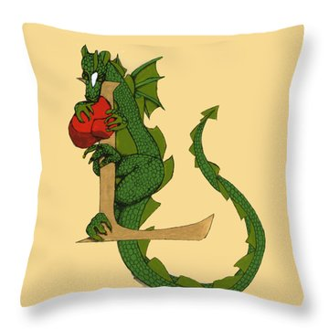 Throw Pillow featuring the drawing Dragon Letter L by Donna Huntriss