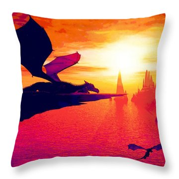 Awesome Dragon Throw Pillow by David Mckinney