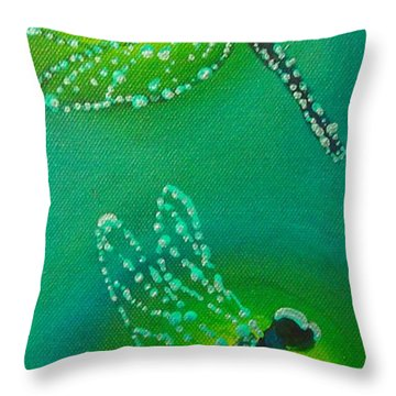 Dragonflies Adorned With Morning Dew Throw Pillow