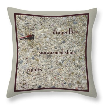Throw Pillow featuring the photograph Dragonflies Haiga by Judi and Don Hall