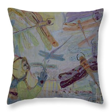 Dragonflies In Winter Throw Pillow by Avonelle Kelsey