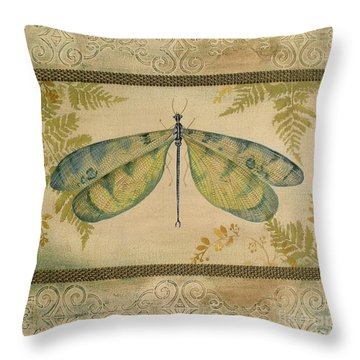 Dragonfly Among The Ferns-1 Throw Pillow by Jean Plout
