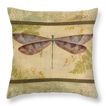 Dragonfly Among The Ferns-3 Throw Pillow by Jean Plout