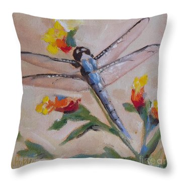 Dragonfly And Flower Throw Pillow by Mary Hubley